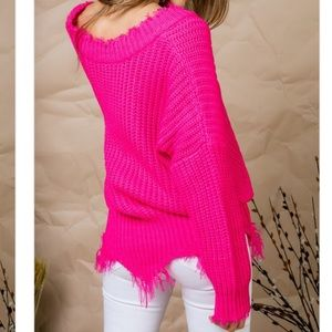 71a93290af Tops - Neon fuchsia frayed edge sweater in S